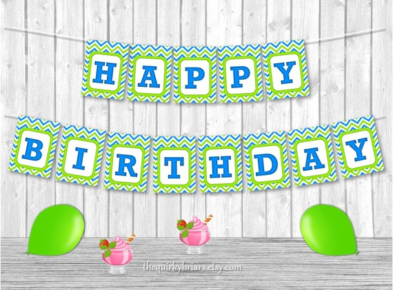 blue and green birthday banner    blue green chevron pattern