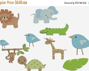 INSTANT Download, Machine Embroidery Designs, Wilderness, Safari, Jungle Animals, Lion, Elephant, Bird,  Monkey, Turtle