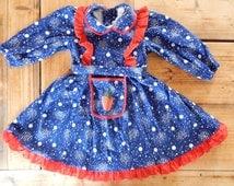 Soviet Vintage Girls Cotton Flannel Dress Retro Dress Soviet Kids Winter Dress 2-3 years
