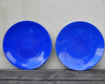 Set of 2 Vintage Bareuther Bavaria Porcelain Plate, Salad Cake Plate, Cobalt Blue Plate