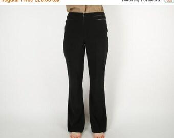 ON SALE Black Women Pants Vintage High Waist Faux Leather Design Trousers Classic Business Suit Pants Size 9