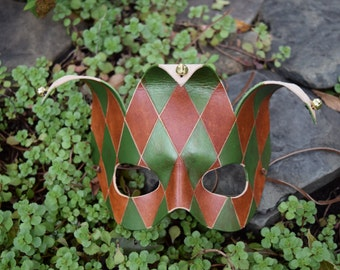 Handmade Leather Jester Mask - Brown and Green -- Ready to go