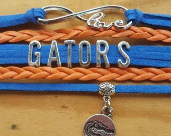 Gator bracelet,  go gators, orange and blue, chomp, gainesville, I love the gators