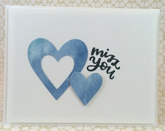 Miss You / Notecard / Folded Notecard / Handstamped / Watercolor