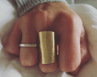Gold Cuff Ring - Gold Ring - Brass Hammered Ring - Neaptide Designs