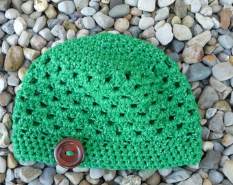 Girls' Sparkly Green Hat with Button