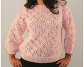Vintage crochet knit oversized sweater slouchy chunky drop shoulder top pink medium large
