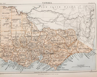 Antique Colour Map of Victoria, Australia. Encyclopedia Britannica, 1870s