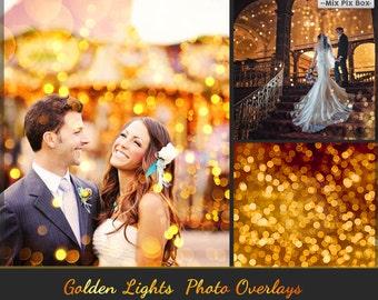 80 Golden lights Effect Photo Overlays, Gold Bokeh Photoshop Overlays, Bokeh Photo layer, sparkles effect, Wedding Overlay, Tree Lights