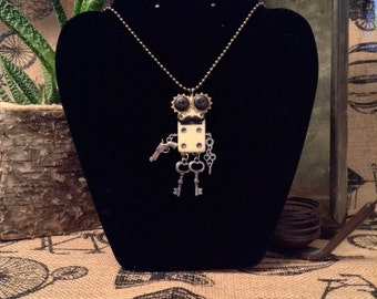Steampunk Domino Robot Necklace