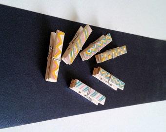 Tiny Clothespins,Decorative Clothespins,Wooden Clothespins,Clothespins Photo Holder,Turquoise Polka,Mini Clothespins Chevron
