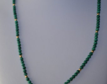 Vintage Natural Green Malachite Gemstone Gold Plated Bead Necklace