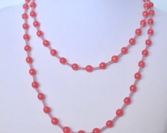 Rachel Hot Pink Glass Beaded 2 Strand Necklace