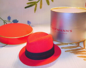 Vintage Salesman Sample Hat and Hat Box, Kaufmann's of Pittsburgh