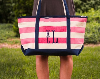 Monogrammed Boat Tote | Striped Canvas Tote | Monogrammed Beach Bag | Pool Bag | Nautical | Gifts for Her | Bridesmaid Gifts | KEY WEST TOTE