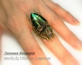Beetle Rings - intricate wire-wrap jewelry ring,with opal,natural beetle wings,malachite.Ring size-will create custom. Insect rings.
