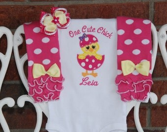 Customize It! Baby/Toddler/Girls Easter Onesie Leg Warmer Outfit! Baby Chick Applique Shirt, Ruffle Leg Warmers, and Hair Bow!Easter Outfit