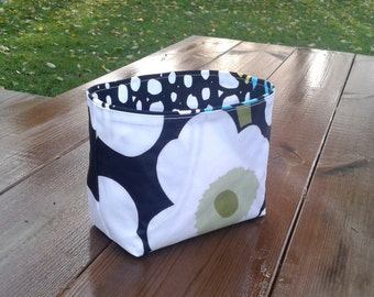 Fabric Basket Organizer made from Marimekko oil cloth Unikko, Storage bin container, Gift basket, bathroom decor,  black and white