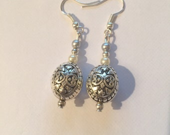 Silver and white pearl dangle earrings