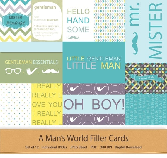 Digital Pocket Scrapbooking Journal Filler Cards Fathers Day Project