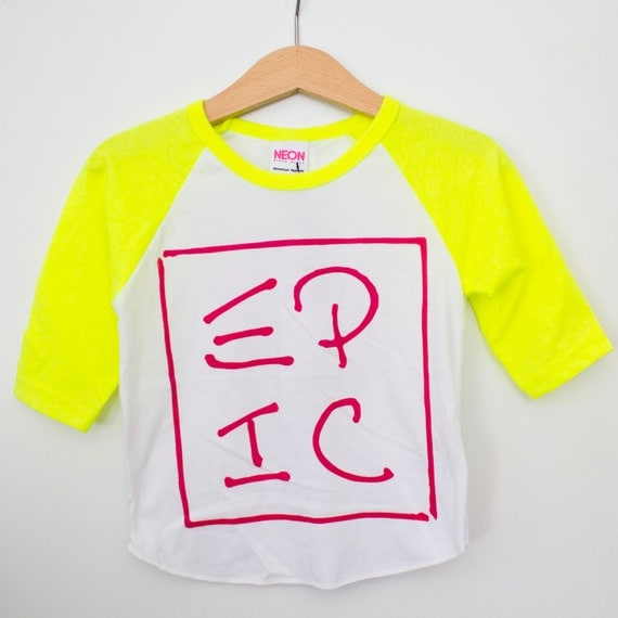 Infant neon yellow sleeved raglan // American Apparel brand // EPIC