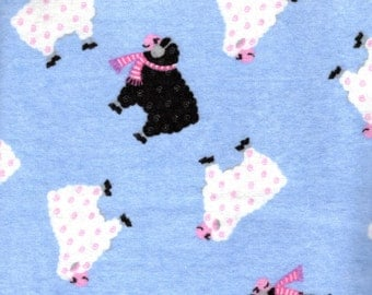 Flannel Fabric, Black Sheep Flannel, Little Lambs on Blue Flannel, Fabric By the yard, Fabric Destash