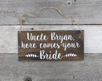 "Personalized Hand Painted Wood Wedding Sign Name & ""Here Comes Your Bride""-Ring Bearer Sign, Flower Girl Sign, Wedding Ceremony  - 12""x5.5"""