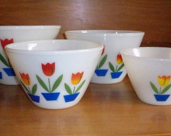 Fire King Tulip Mixing Bowls, Nesting, Set of 4, Vintage