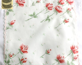 Vintage white linen handkerchief with rose stem design and scalloped edge. Pretty hankie, unusual hankie, dainty hankie
