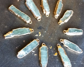 Green Kyanite Bar Charm Pendant with Electroplated 22k Gold #1601