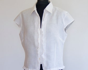 White shirt / white blouse / blouse Ibiza / ad - lib / Top White / hippie chic / over size