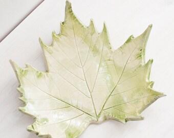"Ceramic leaf plate, ceramic dish, pottery plate, ceramic serving dish, maple leaf, Green 9""."