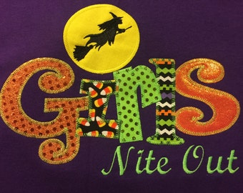 Girls Nite Out Witches Broom Halloween T-Shirt- Bling Custom Applique  Adult Shirt
