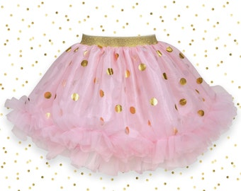 Soft Pink Tulle Skirt with Gold Foil Dots and Pink Chiffon Ruffles for Baby girl, Baby tutu, Tulle skirt, Toddler skirt, Twirl Skirt