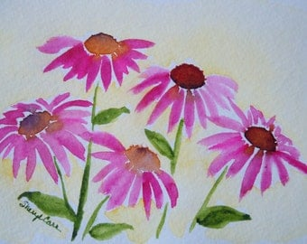 Purple Coneflowers (5) Watercolor Notecard