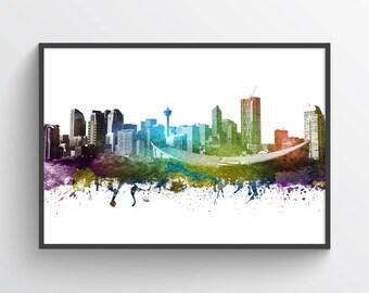 Calgary Canada Poster, Calgary Skyline, Calgary Cityscape, Calgary Print, Calgary Art, Calgary Decor, Home Decor, Gift Idea, CAABCA01P