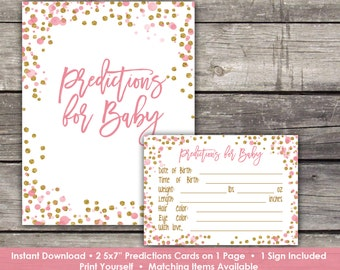 Pink and Gold Baby Shower Predictions for Baby - Baby Shower Activity - Glitter Baby Shower Game Baby-244
