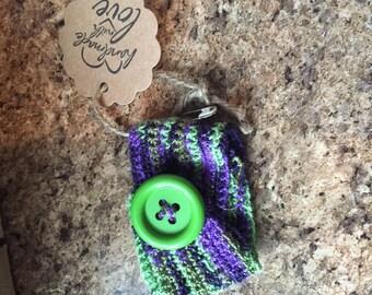 Green and purple crocheted cuff bracelet