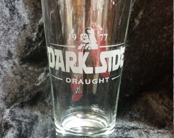 Star Wars Inspired Dark Side Draught Guinness Parody beer glass pub style Etched Pint Glass Etched Glassware Funny Star Wars