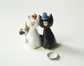 Wedding Cake Topper, Cat Cake Topper, Ceramic Cat Couple, Wedding Gift, Ceramic Cake Topper by Her Moments