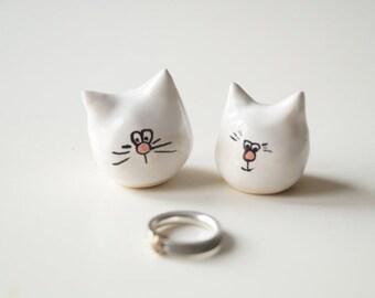 Little Wedding Cake Topper, Cat Cake Topper, Wedding Cake Decor, Cat Couple, Handpainted Cake Topper, Ceramics and Pottery