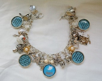 Alice in Wonderland charm bracelet, Alice in wonderland jewellery, charm bracelets, White Rabbit, Mad Hatter, tea party, Once Upon a Time.