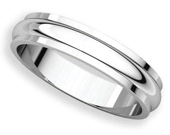 4mm Half Round Edge Palladium 950 Wedding Band