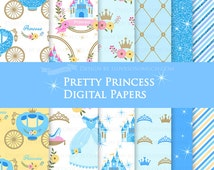 Princess  / Pretty Princess Blue / Blue Glitter / Princess Birthday Party / Princess Party Digital Paper Pack - Instant Download - DP110