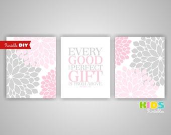 Printable DIY Nursery Art, Pink, Grey, Every good and perfect gift.. James 1:17, nursery Bible verse, Set of 3 8x10 ( 091set810 ) ( cc096 )
