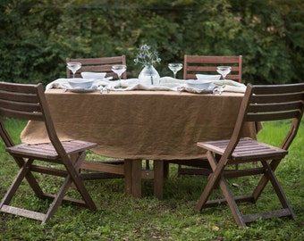Light Brown Linen Table Cloth   Washable Linen   Neutral Tablecloth    Market Linen   72