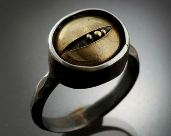 One of a kind Men's Sterling Silver and 18k Gold ring | Sterling Silver Ring with 18k Gold