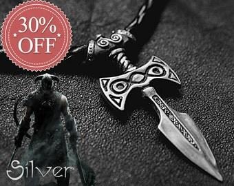 July 4th SALE - 30% OFF! Sterling Silver Amulet of Talos Handmade : Elder Scrolls Inspired Skyrim Necklace