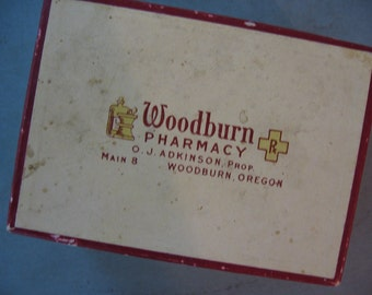 Vintage Pharmacy Drug Prescription Box Cardboard Woodburn Pharmacy, Woodburn, Oregon - 1951