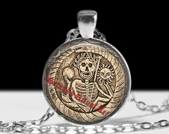 Ouroboros and skeleton pendant, occult jewelry, snake necklace, gnostic jewelry, magic accessories, esoteric, sacred, hermetic jewelry #409